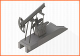 pumpjack flat vector 3d illustration