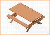 wooden table vector 3d illustration