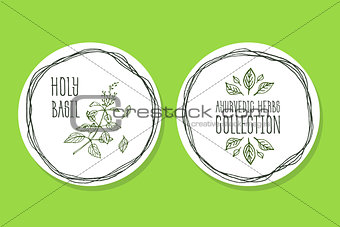 Ayurvedic Herb - Product Label with Holy Basil