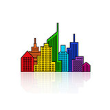 Rainbow vector cityscape design