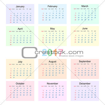 Calendar 2017 starting from sunday