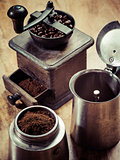 Moka express coffee maker and grinder