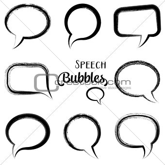 Black vector speech bubbles