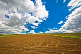 Plowed field under dramatic sky view