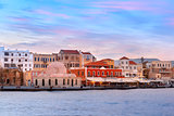 Venetian quay at sunrise, Chania, Crete, Greece