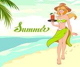 Girl with cocktail on beach. Summer vacation beach holidays