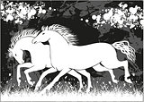 Vector running black and white horses