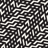 Vector Seamless Black And White Jumble ZigZag Lines Diagonal Pattern