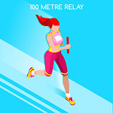 Running Relay 2016 Summer Games Isometric 3D Vector Illustration