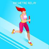 Running Relay 2016 Summer Games Isometric 3D Vector Illustration