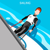 Sailing Race 2016 Summer Games Isometric 3D Vector Illustration