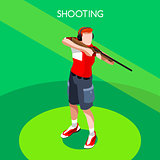 Shooting 2016 Summer Games 3D Isometric Vector Illustration
