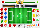 Soccer Field and Football Apparel Vector Illustration