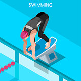 Swimming 2016 Summer Games 3D Isometric Vector Illustration