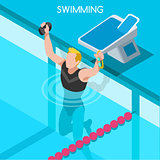 Swimming 2016 Summer Games Isometric 3D Vector Illustration