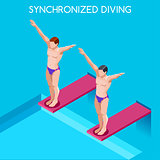 Synchronized Diving 2016 Summer Games 3D Vector Illustration