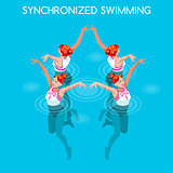 Synchronized Swimming 2016 Summer Games 3D Vector Illustration