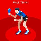Table Tennis 2016 Summer Games 3D Isometric Vector Illustration