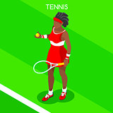 Tennis 2016 Summer Games 3D Isometric Vector Illustration