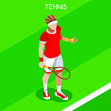 Tennis 2016 Summer Games Isometric 3D Vector Illustration