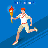 Torchbearer 2016 Summer Games 3D Isometric Vector Illustration