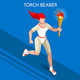 Torchbearer 2016 Summer Games Isometric 3D Vector Illustration