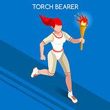 Torchbearer 2016 Summer Games Isometric 3D Vector Illustration