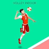 Volleyball 2016 Summer Games Isometric 3D Vector Illustration