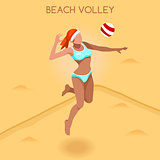 Volleyball Beach 2016 Summer Games 3D Vector Illustration