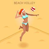 Volleyball Beach 2016 Summer Games 3D Vector Illustration