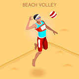 Volleyball Beach 2016 Summer Games Isometric 3D Vector Illustrat