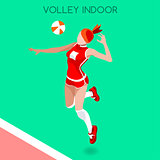Volleyball Indoor 2016 Summer Games 3D Isometric Vector Illustra