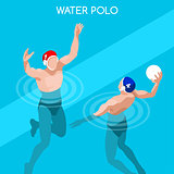 Water Polo 2016 Summer Games Isometric 3D Vector Illustration