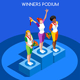Winner Podium 2016 Summer Games 3D Flat Vector Illustration