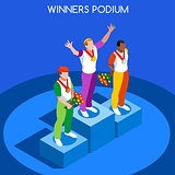 Winner Podium 2016 Summer Games 3D Isometric Vector Illustration