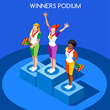 Winner Podium 2016 Summer Games Flat 3D Vector Illustration