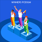 Winner Podium 2016 Summer Games Isometric 3D Vector Illustration