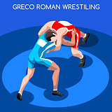 Wrestling 2016 Summer Games 3D Isometric Vector Illustration