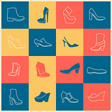 flat icons of different kinds of shoes