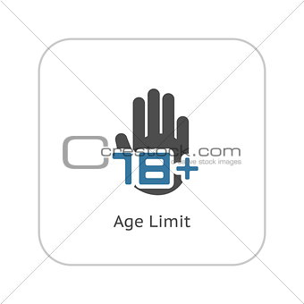 Age Limit Icon. Flat Design.
