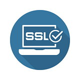 SSL Certified Protection Icon. Flat Design.