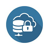 Cloud Secure Storage Icon. Flat Design.