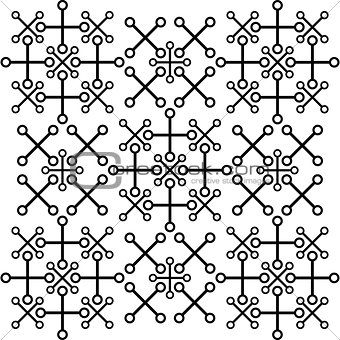 Abstract vector pattern of cross and circles