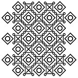 Abstract vector pattern of cross, squares and circles