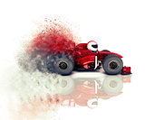 3D speeding race car