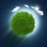 3D grassy globe zooming through the sky