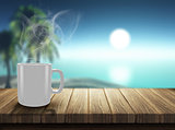 3D render of steaming hot drink on decking looking out to a trop