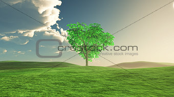 3D tree landscape with storm cloud approaching