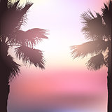 Retro styled palm tree background
