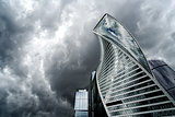 Moscow city and storm
